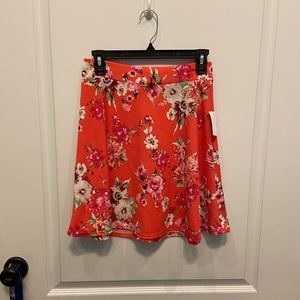 Bright pink floral skirt